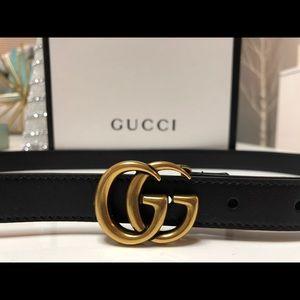 Gucci Belt GG Gold Buckle Black Sz 75